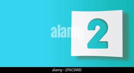 Collezione di numeri di rendering 3D: N. 2, due, ritagliati su carta quadrata bianca su sfondo turchese. Ombreggiatura uniforme e ampio spazio di copia. Illustrazione Foto Stock