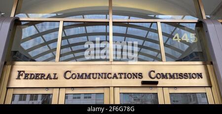Washington DC, Stati Uniti. 31 Marzo 2021. Gli uffici del Comitato federale delle comunicazioni di Washington DC sono esposti mercoledì 31 marzo 2021. (Immagine di credito: © Mark HertzbergZUMA Wire) Foto Stock