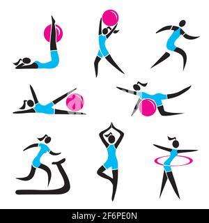 Icone di idoneità, le donne che praticano l'esercitazione. Collezione di nove colorati simboli di attività sportive e di stile di vita sano. Vettore disponibile.