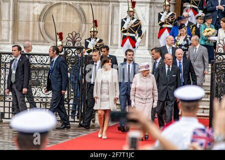 Parigi, Francia. 7 Giugno 2014. Regina Elisabetta II accompagnata dal principe Filippo è l'ospite della città di Parigi per l'ultimo giorno della sua visita di stato.