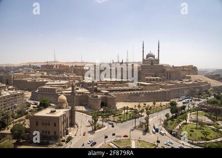 Vista della cittadella e la moschea di Muhammad Ali, Cittadella, il Cairo, Egitto