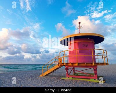 USA, Florida, South Beach Miami, stazione bagnino in stile Art Deco