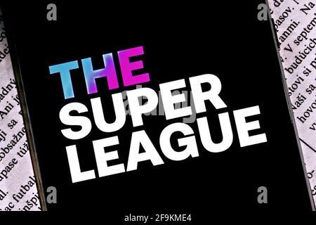 Foto editoriale sul tema della Super League. Foto illustrativa per notizie sulla Super League - una competizione calcistica di alto livello europeo
