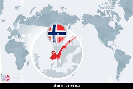 Cartina Mondo Ingrandita.Ingrandisci La Cartina E La Bandiera Della Norvegia Mappa Del Mondo Immagine E Vettoriale Alamy