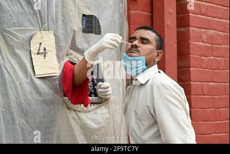 Allahabad, Uttar Pradesh, India. 20 Apr 2021. Gli operatori sanitari prelevano campioni di tampone COVID-19 presso un centro di raccolta dei campioni a Prayagraj. Credit: Prabhat Kumar Verma/ZUMA Wire/Alamy Live News