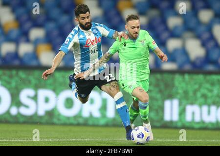 Durante la Serie UNA partita di calcio tra SSC Napoli e SS Lazio allo stadio Diego Armando Maradona. Napoli ha vinto 5-2. Foto Stock