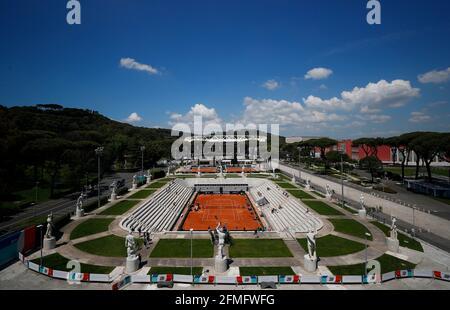 Tennis - ATP Masters 1000 - Open Italiano - Foro Italico, Roma - 9 maggio 2021 Vista generale durante la partita REUTERS/Guglielmo Mangiapane