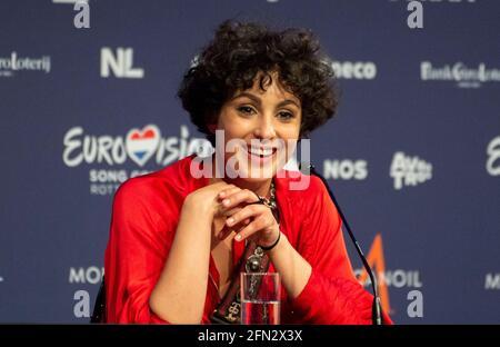 Rotterdam, Paesi Bassi. 13 maggio 2021. Barbara Pravi, in rappresentanza della Francia che ha organizzato una conferenza stampa al concorso di canzoni Eurovisione 2021. Credit: Notizie dal vivo di Nearchos/Alamy