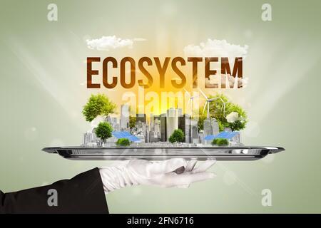 Cameriere che propone un concetto di eco-paesaggio urbano