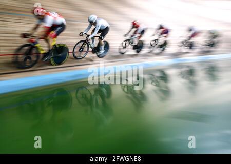 Mosca, Russia. 22 maggio 2021. Partecipanti al Gran Premio di Mosca 2021 pista ciclabile al Krylatskoye Velodrome. Credit: Sergei Bobylev/TASS/Alamy Live News