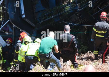 I primi immaggi dell'incidente avvenuto sulla funivia Stresa-Mottarone, in Piemonte. Quattordici persone sono morte. Lago maggiore, Italia