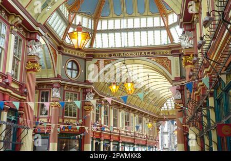 Leadenhall Market, City of London, Londra, Inghilterra, Regno Unito, Europa.