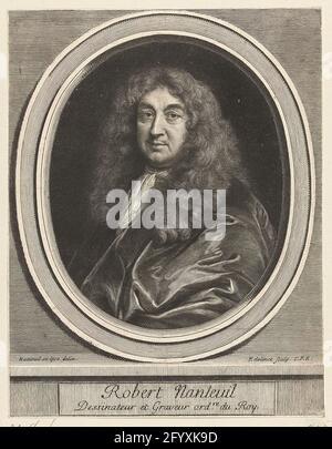 Ritratto di Robert Nanteuil. Ritratto dell'artista di corte francese Robert Nanteuil (1623-1678), metà raffigurata in cornice ovale.