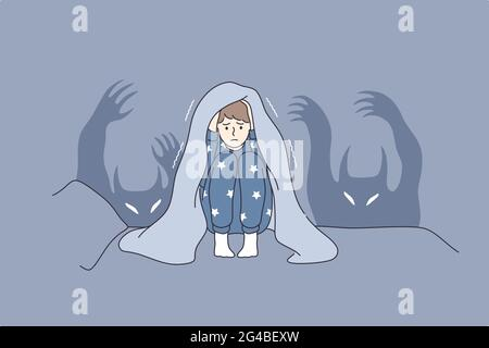 I bambini incubi e paure concetto. Personaggio cartoon ragazzino impaurito seduto in letto coprente testa con coperta paura di fantasmi e nascondersi in letto vettore illustrazione