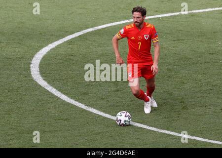 Roma, Italia, 20 giugno 2021. Joe Allen del Galles durante la partita UEFA Euro 2020 allo Stadio Olimpico di Roma. L'immagine di credito dovrebbe essere: Jonathan Moscop / Sportimage