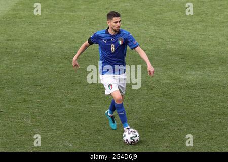 Roma, Italia, 20 giugno 2021. Jorginho d'Italia durante la partita UEFA Euro 2020 allo Stadio Olimpico di Roma. L'immagine di credito dovrebbe essere: Jonathan Moscop / Sportimage