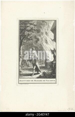 . Un uomo salva una donna da un castello ardente, portandola sulle sue spalle e correndo nella foresta. Sullo sfondo un gruppo che beve acqua da una fonte e un gruppo di piloti in fuga. In margine il titolo in francese.