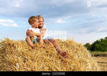 Coppia di due adorabili bambini caucasici sibling godere di sedersi sulla balla haystack e abbracciare insieme in campagna fattoria natura il caldo giorno d'estate