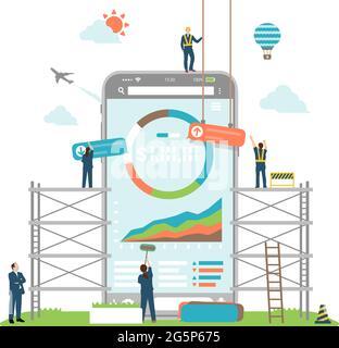 Illustrazione vettoriale degli investimenti mobili ( robot ADVISOR, fin tech apps )