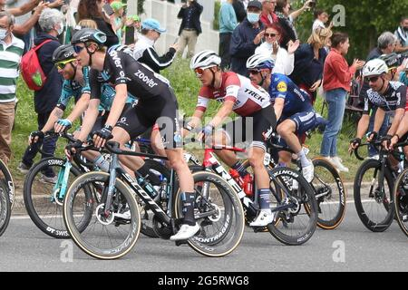 Redon, Fougeres, Francia, 29/06/2021, Toms Skujins di Trek-Segafredo durante il Tour de France 2021, gara ciclistica fase 4, Redon - Fougeres (150,4 km) il 29 giugno 2021 a Fougeres, Francia - Foto Laurent Lairys / DPPI