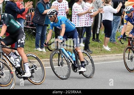 Redon, Fougeres, Francia, 29/06/2021, Alejandro Valverde del Movistar Team durante il Tour de France 2021, gara ciclistica fase 4, Redon - Fougeres (150,4 km) il 29 giugno 2021 a Fougeres, Francia - Foto Laurent Lairys / DPPI