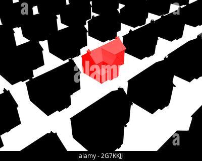 Sfondo con sagome di case private nere con un rosso al centro isolato su uno sfondo bianco. Illustrazione vettoriale.