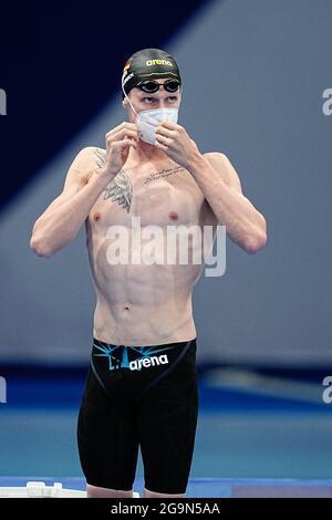 Tokyo, Giappone. 27 luglio 2021. Nuoto: Olimpiadi, uomini, 800m freestyle, turno preliminare al Tokyo Aquatics Center. Florian Wellbrock dalla Germania. Credit: Michael Kappeler/dpa/Alamy Live News