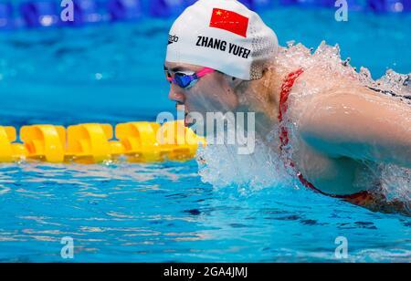 Tokyo, Giappone. 29 luglio 2021. La Cina Yufei Zhang vince l'oro nella farfalla femminile di 200 m in mezzo ai Giochi Olimpici del 2020, presso il Centro Acquatico di Tokyo, Giappone, il 29 luglio 2021. Credit: Fernando Bizerra/EFE/Alamy Live News