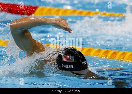 Tokyo, Giappone. 29 luglio 2021. Caeleb Dressel degli Stati Uniti compete nel 100m freestyle al Tokyo Aquatics Center, durante i Giochi Olimpici estivi di Tokyo, Giappone, giovedì 29 luglio 2021. Foto di Tasos Katopodis/UPI. Credit: UPI/Alamy Live News