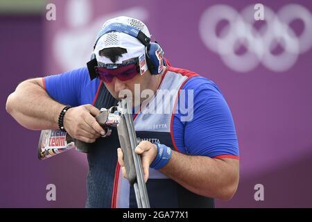 Tokyo, Giappone. 29 luglio 2021. Lo sparatutto sportivo ceco Jiri Liptak partecipa alla finale maschile della trappola di tiro durante le Olimpiadi estive di Tokyo 2020, il 29 luglio 2021, a Tokyo, Giappone. Credit: Ondrej Deml/CTK Photo/Alamy Live News