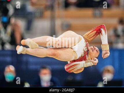 Tokyo, Giappone. 29 luglio 2021. 29 luglio 2021: Nina Derwael del Belgio durante la finale di ginnastica artistica all around alle Olimpiadi del Centro di ginnastica Ariake, Tokyo, Giappone. (Foto di Kim Price/CSM/Sipa USA) Credit: Sipa US/Alamy Live News