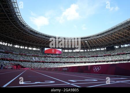 Tokyo, Giappone. 29 luglio 2021. Lo stadio nazionale di Tokyo, vista degli eventi sportivi della prossima settimana il giorno 6 dei Giochi Olimpici estivi di Tokyo 2020; Credit: Action Plus Sports/Alamy Live News