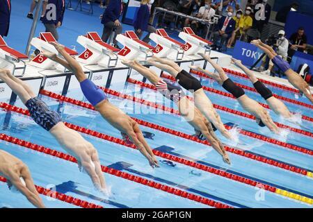 Inizia l'illustrazione durante i Giochi Olimpici Tokyo 2020, Nuoto uomini 100m Butterfly finale il 31 luglio 2021 al Tokyo Aquatics Center a Tokyo, Giappone - Foto Takamitsu Mifun / Foto Kishimoto / DPPI