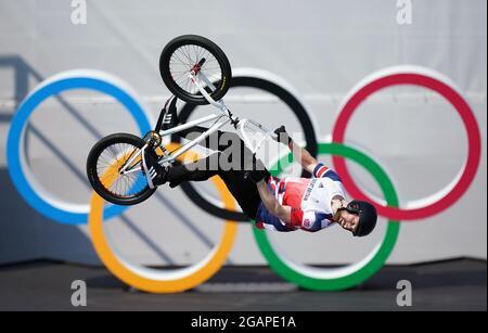 Charlotte Worthington, in Gran Bretagna, sta per vincere una medaglia d'oro nel freestyle femminile BMX all'Ariake Urban Sports Park il nono giorno dei Giochi Olimpici di Tokyo 2020 in Giappone. Data immagine: Domenica 1 agosto 2021.
