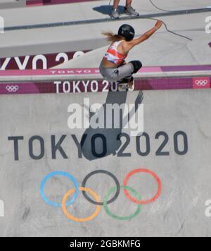 Tokyo, Giappone. 04 agosto 2021. Il Great Britain's Sky Brown si esibisce in finale durante le Olimpiadi di Tokyo Women's Park Skateboarding presso l'Ariake Urban Sports Park di Tokyo, in Giappone, mercoledì 4 agosto 2021. Foto di Keizo Mori/UPI Credit: UPI/Alamy Live News