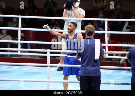 Tokyo, Giappone. 7 agosto 2021. Galal Yafai (GBR) (blu) Boxing : Men's Fly (48-52kg) Final Bout durante i Giochi Olimpici di Tokyo 2020 all'Arena Kokugikan di Tokyo, Giappone . Credit: Yohei Osada/AFLO SPORT/Alamy Live News