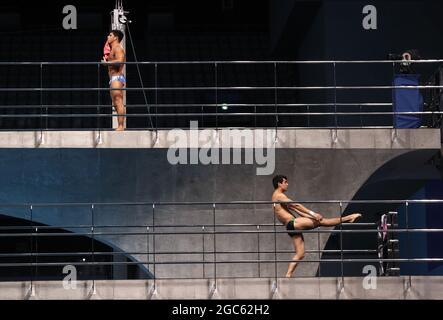 Tokyo, Giappone. 7 agosto 2021. La finale da 10 m per uomini si tiene durante l'evento subacqueo ai Giochi Olimpici estivi del 2020, presso il Tokyo Aquatics Center. Credit: Valery Sharifulin/TASS/Alamy Live News