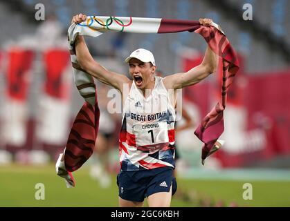 Joseph Choong della Gran Bretagna celebra una medaglia d'oro dopo la vittoria nella moderna Pentathlon, individuale degli uomini - finale laser Run allo stadio di Tokyo il quindicesimo giorno dei Giochi Olimpici di Tokyo 2020 in Giappone. Data immagine: Sabato 7 agosto 2021.