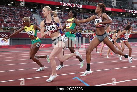 Tokyo, Giappone. 7 agosto 2021. Gli atleti gareggiano durante la finale femminile 4x400m ai Giochi Olimpici di Tokyo 2020 a Tokyo, Giappone, 7 agosto 2021. Credit: Li Ming/Xinhua/Alamy Live News