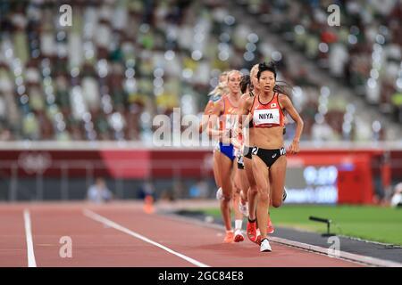 Tokyo, Giappone. 7 agosto 2021. Hitomi Niiya (JPN) Atletica : finale femminile di 10000m durante i Giochi Olimpici di Tokyo 2020 allo Stadio Nazionale di Tokyo, Giappone . Credit: AFLO SPORT/Alamy Live News