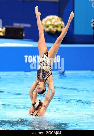 Tokyo, 7 AGOSTO 2021 : Finaliste di nuoto artistico - Russia, Cina e Ucraina hanno vinto le Medaglie d'oro, d'argento e di bronzo a Tokyo il sabato. Credit: Seshadri SUKUMAR/Alamy Live News