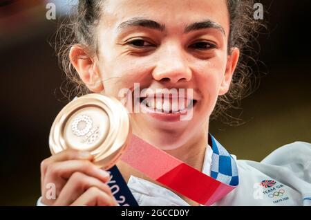 I medalisti della Gran Bretagna dei Giochi Olimpici di Tokyo 2020. File photo datato 25-07-2021 della Gran Bretagna Chelsie Giles riceve la sua medaglia di bronzo per il JUDO femminile -52kg al Nippon Budokan il secondo giorno dei Giochi Olimpici di Tokyo 2020 in Giappone. Data di emissione: Domenica 8 agosto 2021.