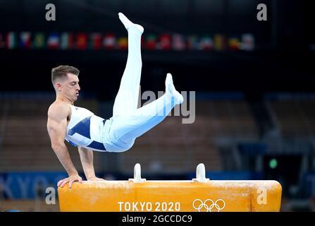 I medalisti della Gran Bretagna dei Giochi Olimpici di Tokyo 2020. File photo datato 01-08-2021 del Max Whitlock della Gran Bretagna durante la finale del Cavallo da uomo al Centro di Ginnastica Ariake il nono giorno dei Giochi Olimpici di Tokyo 2020 in Giappone. Data di emissione: Domenica 8 agosto 2021.