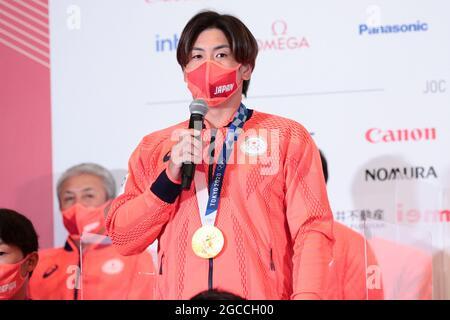 Tokyo, Giappone. 8 agosto 2021. Ryutaro Umeno (JPN) Baseball : medaglia d'oro Ryutaro Umeno durante la conferenza stampa dei Giochi Olimpici di Tokyo 2020 alla Japan House di Tokyo, Giappone . Credit: AFLO SPORT/Alamy Live News