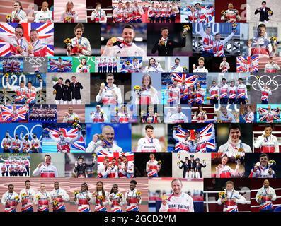 Immagine composita dei Medalisti della Gran Bretagna dei Giochi Olimpici di Tokyo 2020, con 22 medaglie d'oro, 21 argenti e 22 bronzi. Fila in alto da sinistra a destra: Laura Muir (Argento - atletica, donna 1500m), ben Whittaker (Argento - pugilato, peso leggero), Keely Hodgkinson (Argento - atletica, donna 800m), Pat McCormack (Argento - pugilato, uomo di welterweight), Jack Carlin, Ryan Owens, Jason Kenny's, Elica, Elica, Elica, Elica, Elica, Elica, Elica, Elica, Elica, Elica, Elica, Elica, Elica, Elica, Elica, Elica, Elica, Elica Josie Knight, Elinor Barker (Argento - ciclismo, femminile squadra inseguimento), John Gisson, Anna Burnet (Argento - vela, misto Nacra