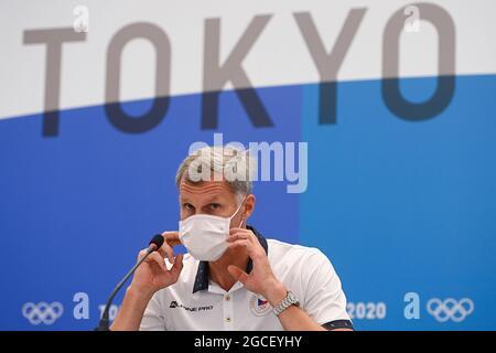 Tokyo, Giappone. 8 agosto 2021. Il presidente del Comitato Olimpico ceco Jiri Keval partecipa a una conferenza stampa sulla partecipazione degli sportivi cechi alle Olimpiadi estive 2020 a Tokyo, Giappone, domenica 8 agosto 2021. Credit: Ondrej Deml/CTK Photo/Alamy Live News