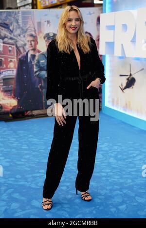 Jodie Comer arriva a Cineworld Leicester Square, nel centro di Londra, per la prima volta di Free Guy. Data immagine: Lunedì 9 agosto 2021.