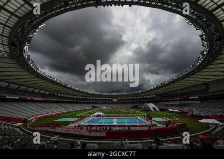 Lo Stadio di Tokyo (Ajinomoto Stadium) è visto durante la parte di nuoto del pentathlon moderno maschile alle Olimpiadi estive del 2020, sabato 7 agosto 2021,