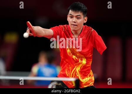Zhao Shuai in azione nella classe 8 del gruppo B del Men's Singles Ping-pong al Tokyo Metropolitan Gymnasium il giorno uno dei Tokyo 2020 Paralympic Games in Giappone. Data foto: Mercoledì 25 agosto 2021.