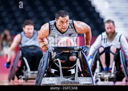 TOKYO, GIAPPONE. 25 ago 2021. Barney Koneferenishi (NZL) in Men's Wheelchair Basketball USA vs NZL durante i Giochi Paralimpici di Tokyo 2020 allo Yoyogi National Stadium mercoledì 25 agosto 2021 a TOKYO, GIAPPONE. Credit: Taka G Wu/Alamy Live News